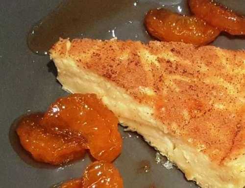 Milk Tart with glazed mandarins (naartjies)